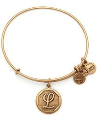 ALEX AND ANI - Initial L Charm Bangle - Lyst