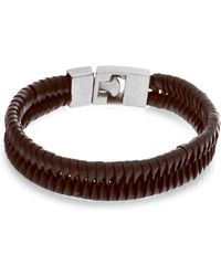 Lord + Taylor - Stainless Steel & Braided Leather Bracelet - Lyst