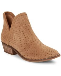 Lucky Brand - Kambry Perforated Leather Ankle Boots - Lyst