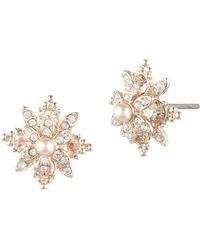 Marchesa - Faux Pearl & Crystal Stud Earrings - Lyst
