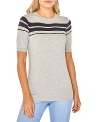 Dorothy Perkins - Striped Short-sleeve Sweater - Lyst