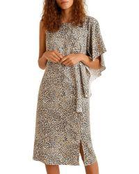 Mango Leopard-print Shift Dress - Multicolour