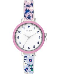 Kate Spade - Park Row Silvertone And Multicolored Strap Watch - Lyst