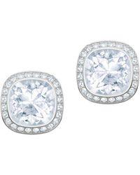 Swarovski - Rhodium-plated And Crystal Lattitude Stud Earrings - Lyst