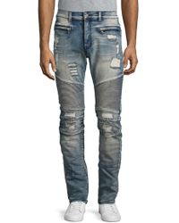 Reason - Causeway Straight-leg Distressed Moto Jeans - Lyst