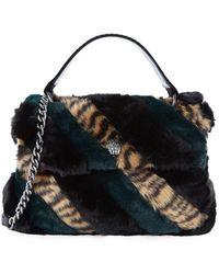 Kurt Geiger - Large Soho Striped Faux Fur Shoulder Bag - Lyst