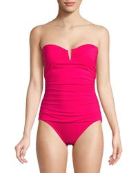 Tommy Bahama - Shirred Strapless One-piece Swimsuit - Lyst