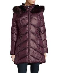 Gallery - Faux Fur Trimmed Chevron Quilted Coat - Lyst