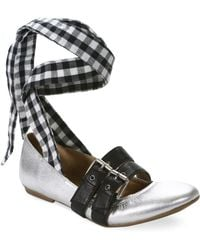 Luxury Rebel - Sari Gingham Lace-up Leather Ballet Flats - Lyst