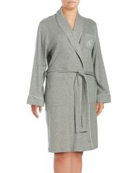 Lauren by Ralph Lauren - Plus The Hartford Robe With Quilted Collar And Cuffs - Lyst