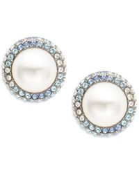 Nadri - Faux Pearl And Pave Stud Earrings - Lyst