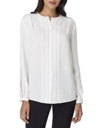 Tahari - Petite Loop Hole Front Button Blouse - Lyst