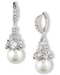Givenchy - Crystal And Glass Pearl Drop Earrings - Lyst