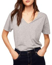 Mango - Organic V-neck Cotton Tee - Lyst
