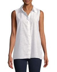 Ellen Tracy - Petite Leopard-print Button-down Shirt - Lyst