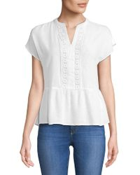 Lord & Taylor - Petite Crochet-trimmed Top - Lyst