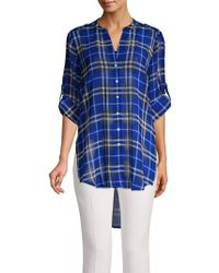 Calvin Klein - Plaid High-low Tunic - Lyst