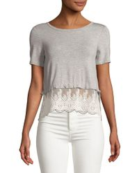 Lord & Taylor - Lace Hem Short-sleeve Top - Lyst