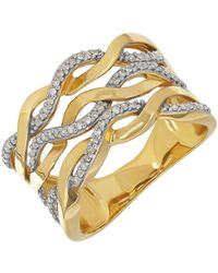 Lord & Taylor - Diamond And 14k Yellow Gold Wave Ring - Lyst
