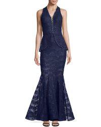 Nicole Bakti | Embellished Peplum Gown | Lyst