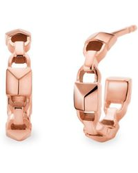 Michael Kors - Mercer Link 14k Rose Gold Huggie Earrings - Lyst