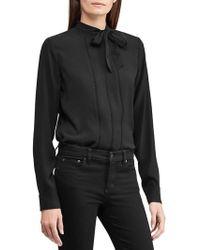 Lauren by Ralph Lauren - Necktie Georgette Blouse (polo Black) Women's Blouse - Lyst