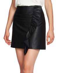 1.STATE - Ruffle-trimmed Faux Leather Mini Skirt - Lyst