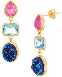 Lord & Taylor - Goldplated And Druzy Stone Drop Earrings - Lyst