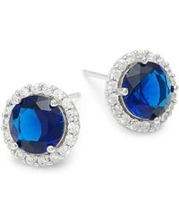 Lord & Taylor - Sterling Silver And Sapphire Bezel Earrings - Lyst
