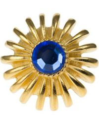 Kenneth Jay Lane Faceted Stone Flower Ring - Blue