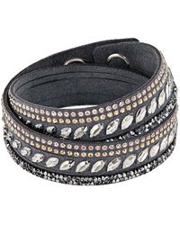 Swarovski - Slake Pulse Grey Crystal-accented Leather Wrap Bracelet - Lyst