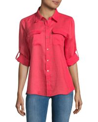 Calvin Klein - Linen Roll Sleeve Blouse - Lyst
