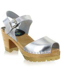 MIA - Greta Leather Clog Sandals - Lyst