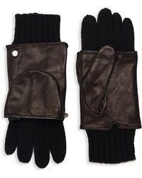Echo - Zip-around Leather & Wool Gloves - Lyst