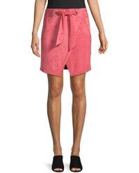 Kensie - Tie-front Faux Suede Skirt - Lyst