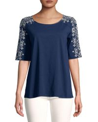 Lord & Taylor - Embroidered Short Sleeve Top - Lyst