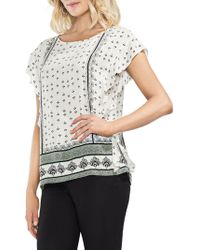 Vince Camuto - Ruffle Sleeve Printed Blouse - Lyst