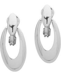 Anne Klein - Polished Clip-on Oval Drop Earrings - Lyst
