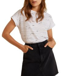 Mango - White Printed 'chalonew' T-shirt - Lyst