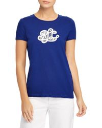 Lauren by Ralph Lauren - Embroidered Monogram Cotton Tee - Lyst