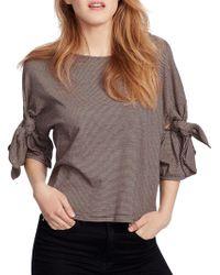 Ella Moss - Elbow-sleeve Striped Cotton Top - Lyst