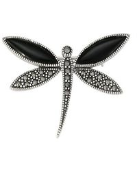 Lord & Taylor - Marcasite Stone And Onyx Dragonfly Brooch - Lyst