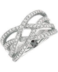 Morris & David - 14k White Gold Diamond Wave Ring - 0.76 Tcw - Lyst