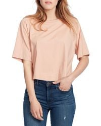 Ella Moss - Elbow-sleeve Cotton Cropped Top - Lyst