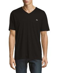 Lacoste - V-neck Cotton Tee - Lyst