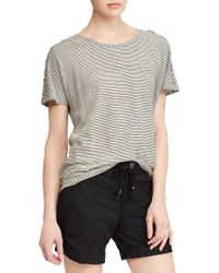 Lauren by Ralph Lauren - Lace-up Striped Linen T-shirt - Lyst