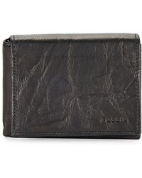 Fossil - Crinkle Leather Bi-fold Wallet - Lyst