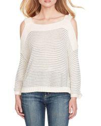 a40e9516338 Lyst - Jessica Simpson Knit Cold-shoulder Pullover in Black