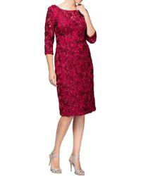 Alex Evenings - 3/4 Sleeve Illusion Neck Rosette Sheath Dress - Lyst
