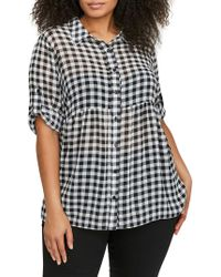 Addition Elle - Plus Printed Button-front Top - Lyst